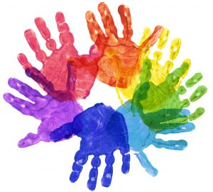 Painted Child Hands for Autism